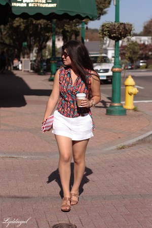 brown Nine West sandals - red Hillside Bags bag - white banana republic shorts