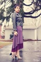 amethyst arabella dress - charcoal gray Target jacket - beige me too heels