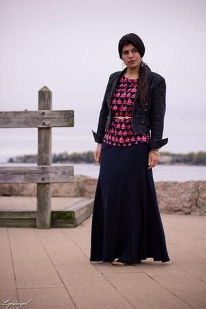 navy Max Studio skirt - navy denim NY&CO jacket - maroon sail boat Old Navy top