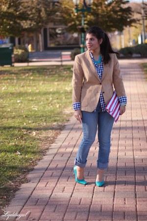 blue gingham JCrew top - Max Studio jeans - camel vintage blazer