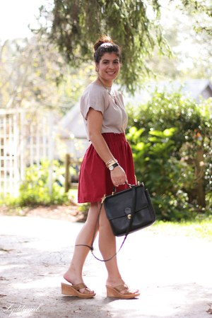 ruby red handmade skirt - black coach bag - tan thrifted top - gold onex sandals