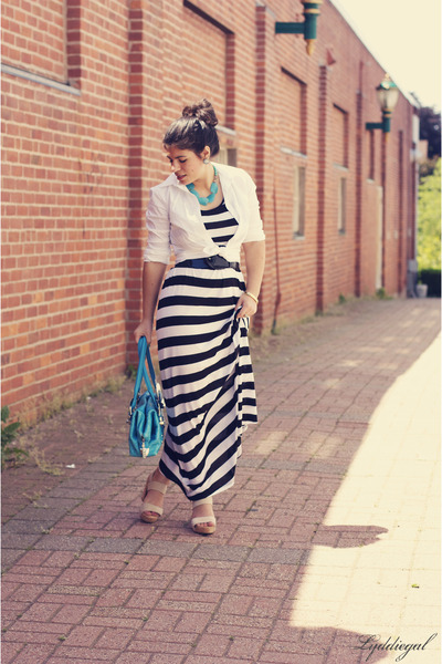 Striped Maxi H&m Dress White