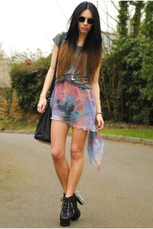 black Jeffrey Campbell heels - periwinkle worn as a skirt Sheinside dress