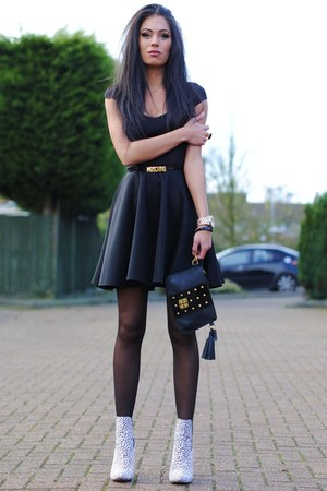 black Boohoo dress - white Primark boots - black baia bag - black Moschino belt