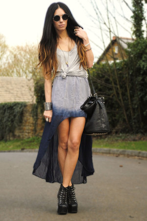 navy worn as skirt TFNC dress - black select bag - heather gray H&M vest