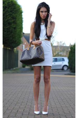 white Love dress - brown Louis Vuitton bag - white H&amp;M wedges