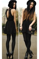 black inlovewithfashion dress - black H&M hat - black H&M bag