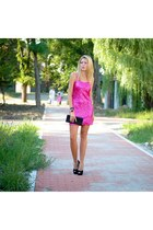 hot pink daily look dress - black heels