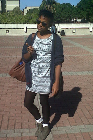 white socks - grey brogues shoes - aztec dress - navy cardigan - black stockings