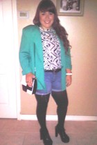 blazer - blouse - shorts - belt - purse