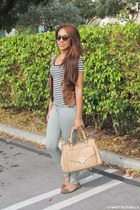 olive green unknown brand pants - black stripes Ross top