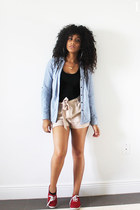 light blue chambray Marshalls blouse - beige Madrag shorts - black Madrag top
