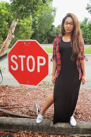 red unknown blouse - black maxi Forever 21 dress - white unknown sneakers