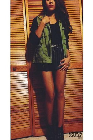 black leather Tobi shorts - olive green leather sleeves Love Culture jacket
