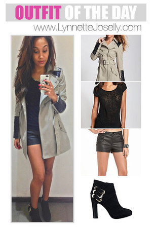 black buckled boots - heather gray trench leather Guess coat