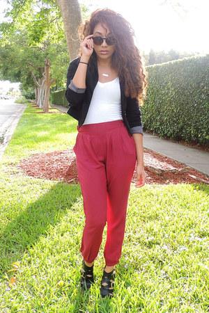 black unknown blazer - white unknown top - ruby red harem SUPRÉ pants