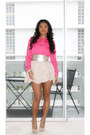 Hot-pink-h-m-blouse-nude-aldo-pumps-pink-gold-cream-forever-21-accessories