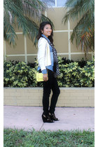 metallic H&M sweater - destroyed black f21 jeans - polka dotted Express scarf