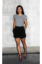 platform heels Steve Madden sandals - Zara shirt - paperbag H&M shorts
