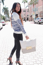 blue Pencey sweatshirt - navy James Jeans jeans - cream Dareen Hakim bag
