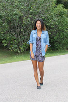 black Kimchi Blue romper - light blue f21 shirt