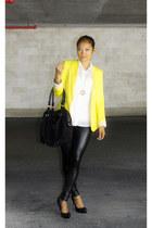 yellow Zara blazer - liquid boutique leggings - black JPK Handbags bag