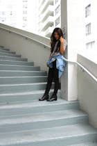 black H&M boots - black J Brand jeans - blue denim chambray f21 shirt