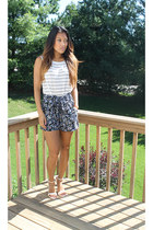 striped Zara top - Forever 21 shorts - Zara heels