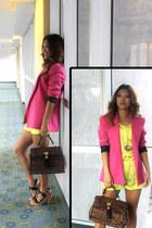 pink vintage blazer - leopard print Aldo bag - neon H&M shorts