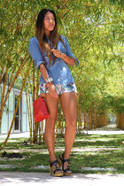 floral Zara shorts - Mossimo sandals - bow cuff gold H&M bracelet