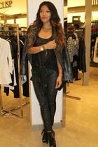 black leather print DL 1961 Jeans jeans - black leather zippers Dawn Levy jacket