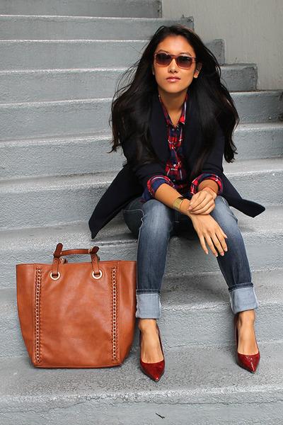 navy Bebe jeans - navy navy blazer Macys blazer - tawny tote Aldo bag