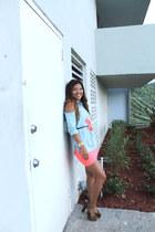 statement neon H&M necklace - coral neon Bebe skirt - skinny belt Express belt