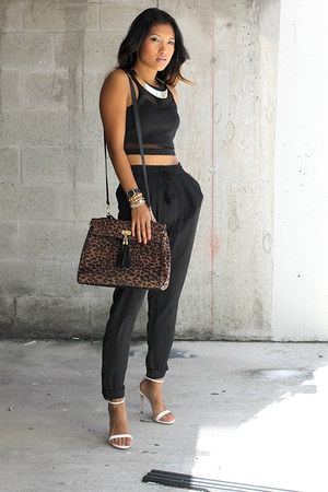 black Zara pants - light brown Aldo bag - black 2b bebe top