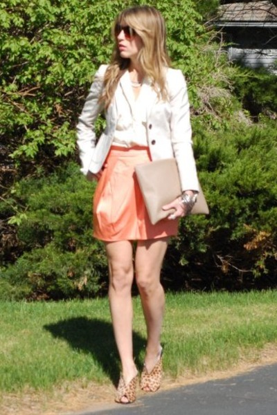 JCrew blazer - vintage blouse - JCrew skirt - franco sarto sandals
