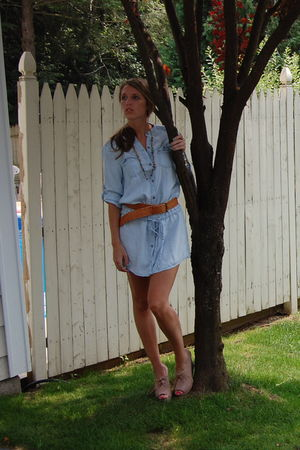 blue Zara dress - beige Jeffrey Campbell shoes