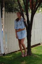 blue Zara dress - beige Jeffrey Campbell shoes