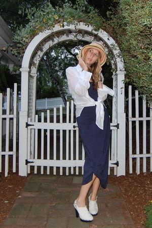 white vintage blouse - blue Victorias Secret dress - white Alice and Olivia for