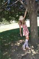 pink Urban Outfitters dress - American Eagle hat - Knee Highs-Urban Outfitters a