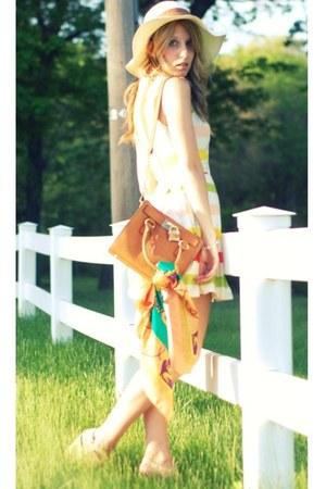 asos dress - Forever 21 hat - vintage scarf - melie bianco bag