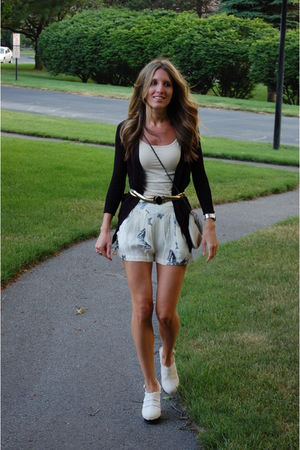 shorts - top - cardigan - shoes - belt - purse
