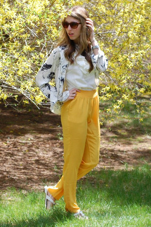 80s purple sunglasses - J Crew top - BB Dakota pants - vintage blouse - TJ Maxx