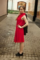red dress - black Alba shoes