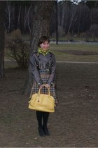 black Alba shoes - camel belted versus jacket - mustard plaid Mango shirt - yell