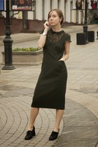 black Alba boots - olive green dress