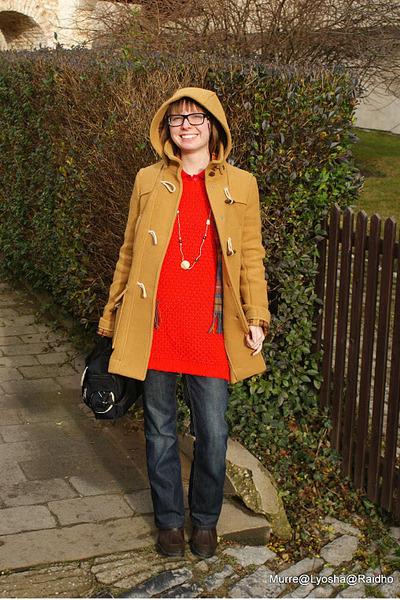 red knit Zara sweater - dark brown waterproof Tommy Hilfiger boots