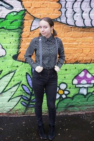 white TrendyFine shirt - black Topshop jeans - heather gray Topman belt