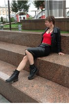black unknown boots - black eco leather Topshop jacket - ruby red unknown shirt