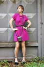 Hot-pink-topshop-dress-black-spiked-jeffrey-campbell-sandals
