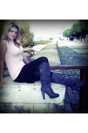 heather gray Guimares shoes - black skirt - light pink blazer